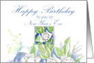Happy New Years Eve Birthday White Roses Watercolor card