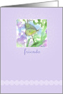 Friends Yellow Moth Flower Garden Watercolor card