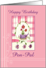 Happy Birthday Pen Pal Flower Bouquet Watercolor card