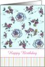 Happy Birthday Blue Roses Flower Drawing card