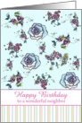 Happy Birthday Neighbor Blue Roses Flower Drawing card