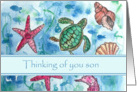 Thinking of You Son Turtles Fish Sea Horse Watercolor card