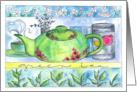 Green Tea Jasmine Flowers Blank Note Card