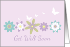 Get Well Soon Purple Flowers White Butterflies card