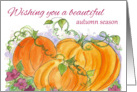 Wishing You A Beautiful Autumn Season Pumpkins Watercolor card