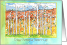 Happy Birthday on Father's Day Aspen Trees Desert Landscape card