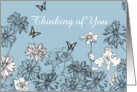 Thinking of You White Garden Flowers Butterfly Drawing card