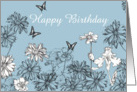 Happy Birthday White Garden Flowers Butterfly Drawing card