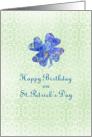Happy Birthday on St. Patrick's Day Blue Flower Shamrock card