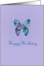 Happy Birthday Blue Watercolor Floral Butterfly card