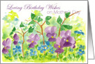 Loving Birthday Wishes on Mother's Day Watercolor Violets card