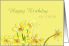 Happy Birthday on Easter Yellow Daffodils Spring Flower card