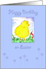 Happy Birthday on Easter Yellow Baby Spring Chick Painting card