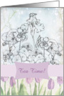 Tea Time Invitation Lavender Tulip Iris Nasturtium Flower Collage card