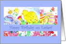 Happy Birthday on Easter Chicken Eggs Flower Watercolor card