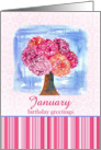 Happy Birthday Greetings Carnation Flower Bouquet Watercolor card