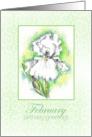 Happy Birthday Greetings White Iris Flower Art Drawing card