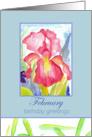 Happy Birthday Greetings February Pink Iris Flower Watercolor card