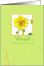 Happy Birthday Greetings March Daffodil Flower Watercolor card