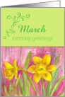 Happy March Birthday Greetings Yellow Daffodil Flower Watercolor card