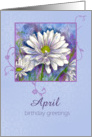 Happy April Birthday Greetings White Shasta Daisy Flower Watercolor card