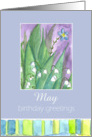 Happy May Birthday Greetings Lily of the Valley Flower Watercolor card