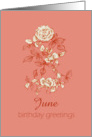 Happy June Birthday Greetings White Rose Flower Ink Drawing card