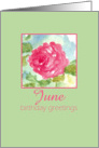 Happy June Birthday Greetings Pink Rose Flower Watercolor Painting card