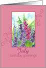 Happy July Birthday Greetings Pink Larkspur Flower Watercolor Painting card