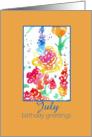 Happy July Birthday Greetings Red Wildflower Watercolor card