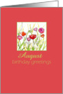 Happy August Birthday Greetings Red Poppy Flower Watercolor card