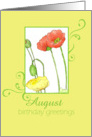 Happy August Birthday Greetings Orange Poppy Flower Watercolor card