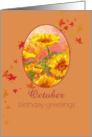 Happy October Birthday Greetings Marigold Calendula Flower Watercolor card
