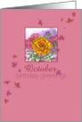 Happy October Birthday Greetings Marigold Flower Watercolor card