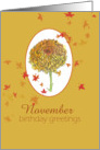 Happy November Birthday Greetings Yellow Chrysanthemum Flower card