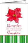 Happy December Birthday Daughter Red Poinsettia Flower card