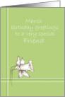 Happy March Birthday Friend White Daffodil Flower Drawing card
