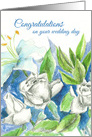 Congratulations on Your Wedding Day White Rose Bouquet card