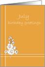 July Happy Birthday Greetings, Larkspur Flower Drawing card