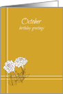 Happy October Birthday Greetings White Marigold Flower Drawing card
