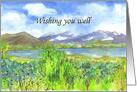 Get Well Soon Purple Pansy Watercolor Flower Art card