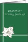 Happy December Birthday Greetings White Poinsettia Flower Drawing card