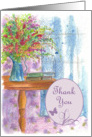 Thank You Wildflower Bouquet Butterfly Watercolor card