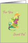 Thinking of You Secret Pal Flower Pet Cat Watercolor Art card