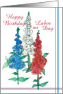 Happy Birthday on Labor Day Red White Blue Wildflowers card