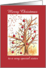 Merry Christmas Sister Winter Tree Drawing Red Ornaments card