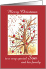Merry Christmas Son and Family Winter Tree Drawing Red Ornaments card