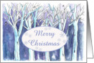 Merry Christmas Blue Winter Trees Painting Nature Snow card