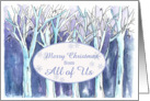 Merry Christmas from All of Us Winter Trees Landscape Painting card