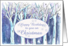 Happy Birthday on Christmas Winter Trees Landscape Painting card
